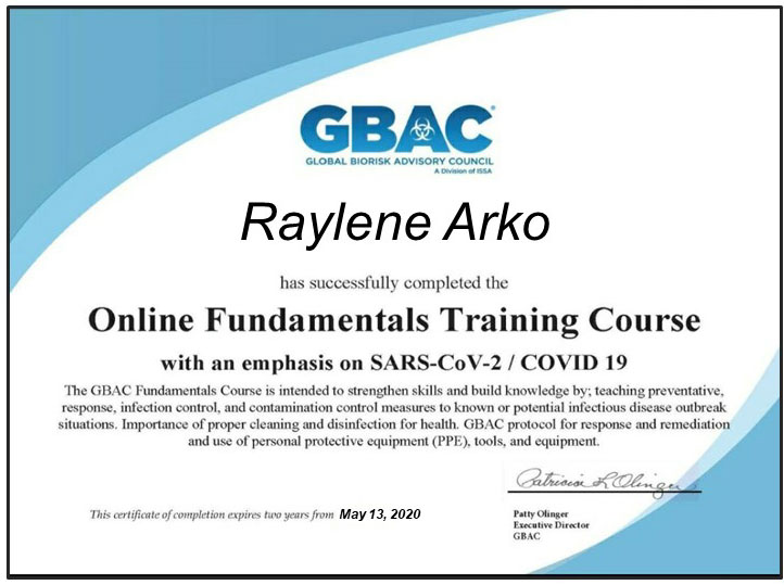 GBAC Trained Cleaners with special emphasis on Covid 19